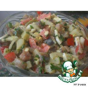 Рецепт Селeдочный салат с оригинальной горчичной заправкой