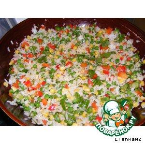 Рецепт Пикантный салат из риса с кукурузой и зеленым горошком
