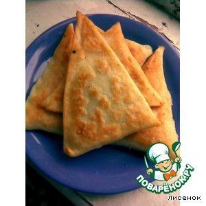 Рецепт Закусочные треугольники из заварного теста с зеленью