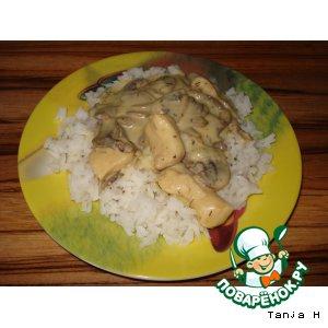 Рецепт Грибной соус с куриным филе к рису