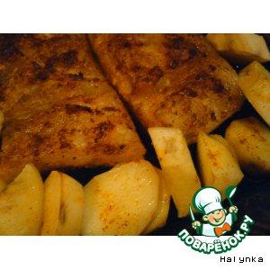 Рецепт Сало запеченное с картофелем