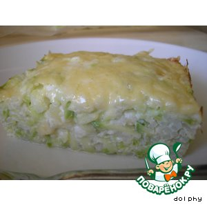 Baked rice and zucchini