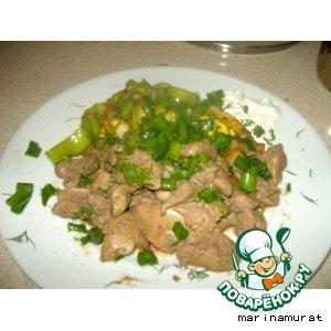Рецепт Куриная печенка с овощами