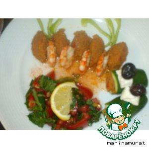 Рецепт Креветки с баклажановой икрой и салатом из помидоров и мяты