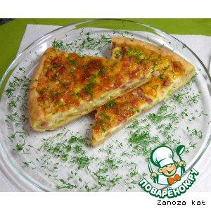 Рецепт Песочный пирог с грудинкой и сыром