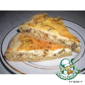 Рецепт Песочный пирог с капустой, кабачком, грибами и укропом