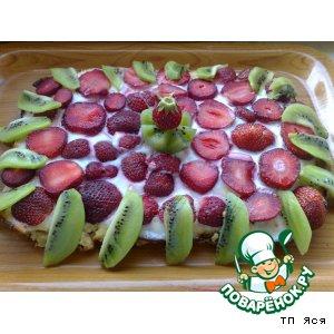 Рецепт Нежная творожная запеканка с фруктами