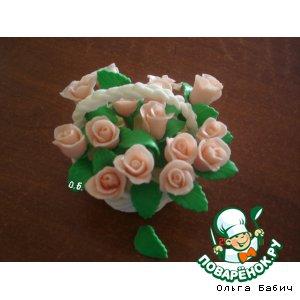 Рецепт Корзинка с розами из мастики