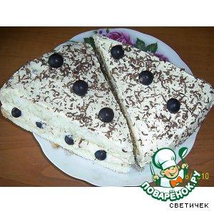 Рецепт Бисквитно-творожное пирожное с чeрной смородиной