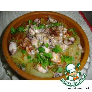 "Рецепт Картофель с мелкими кальмарами и шафраном ""Patata con chipirones y azafran"""
