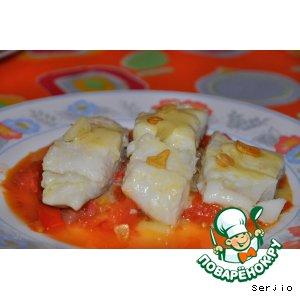 Рецепт Треска под соусом пиль-пиль на подушке из овощного писто