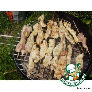 Рецепт: Куриные шашлычки в маринаде