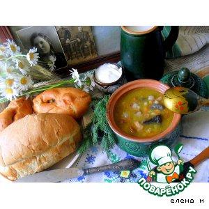 """Рецепт Грибной суп с перловкой и шкварками """"Мишин суп"""""""