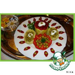 Рецепт Кабачок  с  фаршем  и  шампиньонами  запечeнный  в  фольге