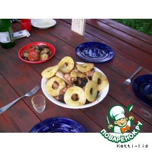 """Рецепт Куриный шашлык с творожно-ананасовым соусом """"Экзотика"""""""