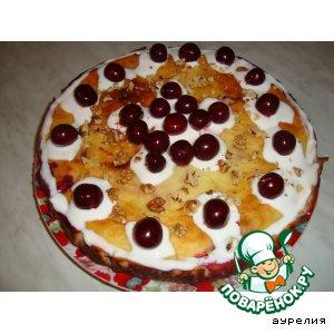 Рецепт Сочный творожный пирог с вишнями