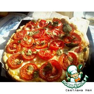 Рецепт Открытый пирог с томатами, базиликом и мятой