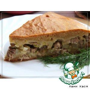 Рецепт Мясной пирог с картофелем и луком-пореем