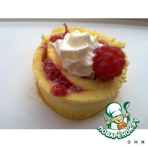 Рецепт Бисквитный рулет с малиной