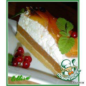 Десертный торт с йогуртом и персиками