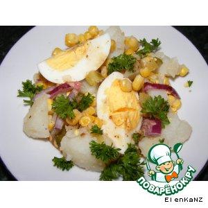 Рецепт Картофельный салат-гарнир с кукурузой и корнишонами