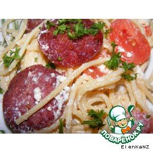 Рецепт Спагетти с салями и помидорами