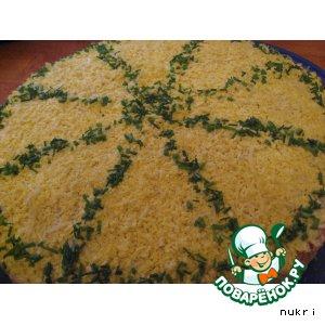 Рецепт Закусочный торт «Мимоза» с вафельными коржами