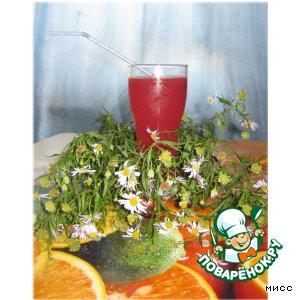 """Рецепт Розовый коктейль с зелeным чаем """"Эликсир бодрости"""""""