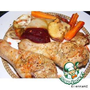 Рецепт Курица, запеченая с розмарином и овощами