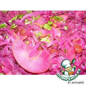 Рецепт Соте из краснокочанной капусты с яблоками