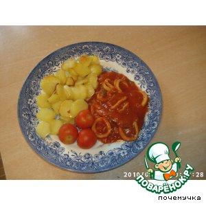 Рецепт Кальмары в томатном луково-чесночном соусе