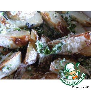 """Рецепт """"Салат"""" из печеного картофеля с мятно-йогуртовым соусом"""