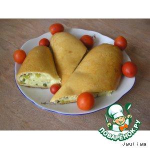 Рецепт Рулет с творогом, сыром и зелeным луком
