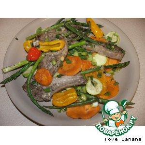 Рецепт Бараньи ребрышки, запечeнные с овощами и сладким картофелем
