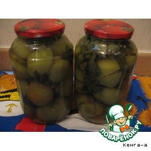Рецепт Зеленые помидоры, фаршированные хреном и чесноком