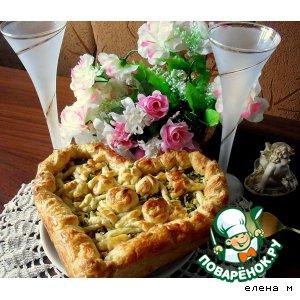 Рецепт Пирог из слоеного теста с плавлеными сырками, чесноком и зеленью