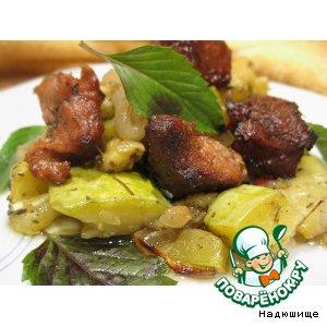 Рецепт Печеные кабачки с мясом и травами