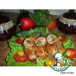 """Мясные """"пальчики"""" с овощной начинкой в томатно-сливочном соусе"""