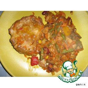 Рецепт Свиные отбивные с овощным рагу