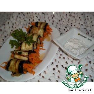 Рецепт Баклажаны фаршированные морковью и соус к ним