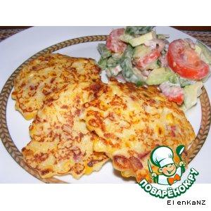 Рецепт Кукурузные оладьи с острой колбаской chorizo