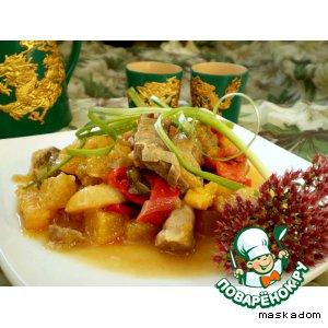 Рецепт Ароматная свинина с овощами и курагой