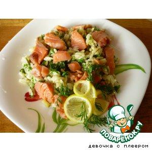 Рецепт Теплый рисовый салат с подкопченной горбушей