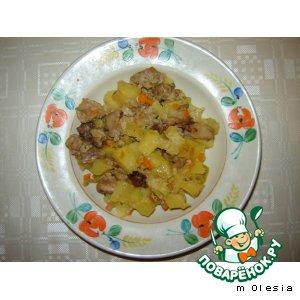 Рецепт Мясо кролика с картофелем, запеченное в рукаве