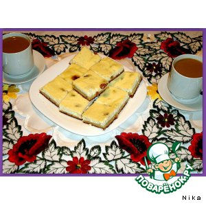 Рецепт Открытый пирог с творогом и изюмом
