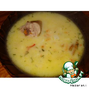 Рецепт Суп со сметаной и копченым мясом