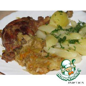 Рецепт Гусь с капустой и яблоками