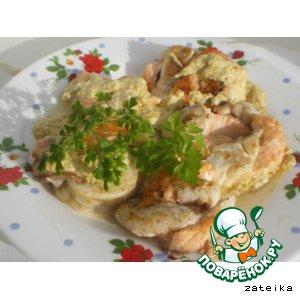 """Рецепт """"Гнезда"""" из семги и сибаса в сливочном соусе"""