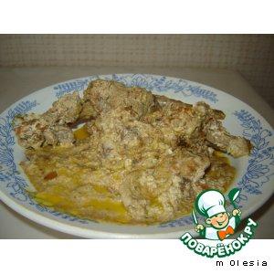 Рецепт Мясо кролика, тушеное в сметане