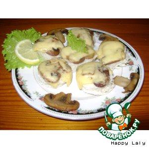 Рецепт Канапе с грибами на закуску